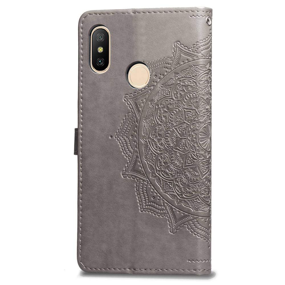 Leather Wallet Case for Xiaomi Redmi Note 5 Pro,Moiky Stylish Black Mandala embossed Pattern Soft PU Leather Magnetic Stand Clamshell Case Silicone Rubber Cover for Xiaomi Redmi Note 5 Pro
