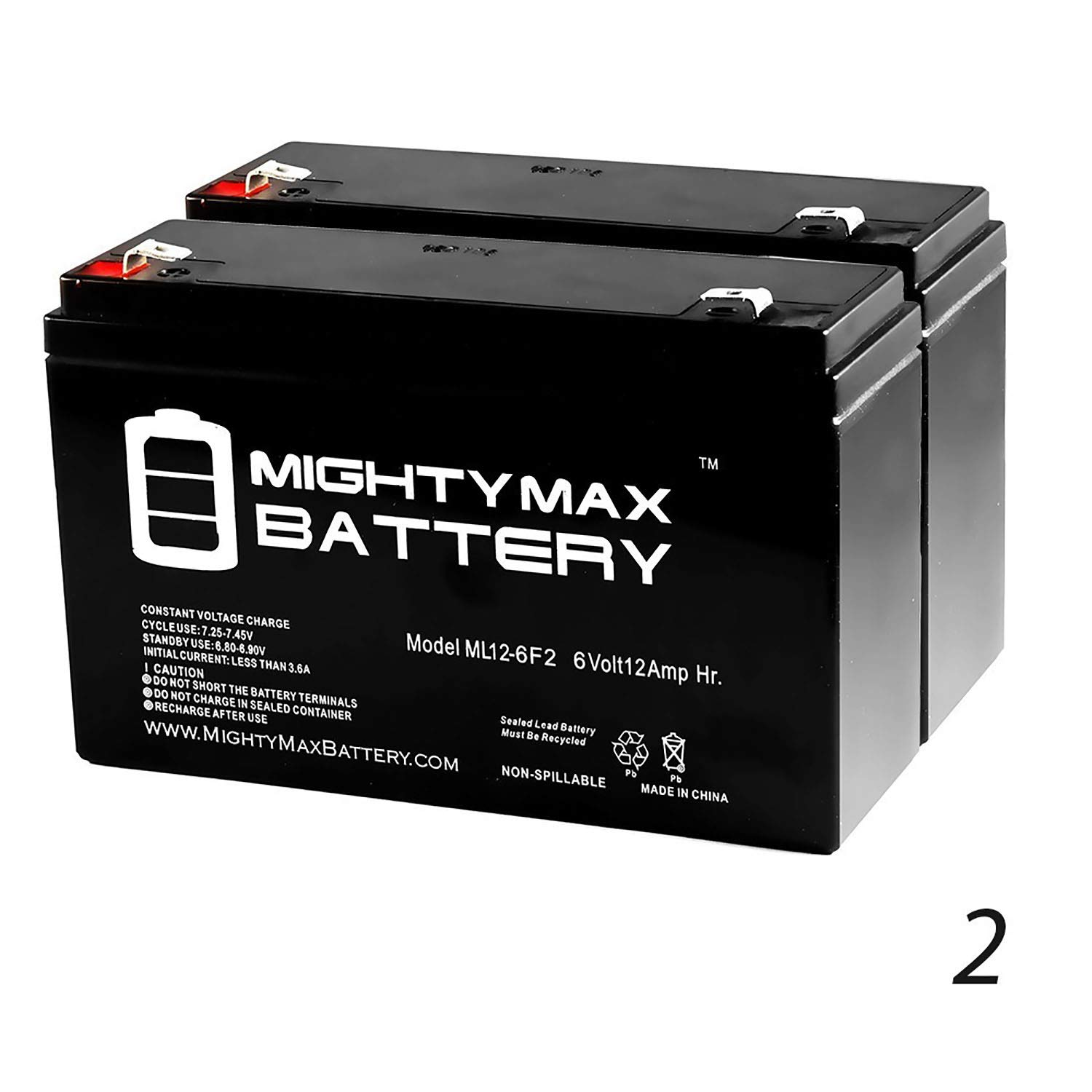 Mighty Max Battery 6V 12AH F2 Battery Replaces Enduring 3FM12 T2, 3-FM-12 T2-2 Pack Brand Product