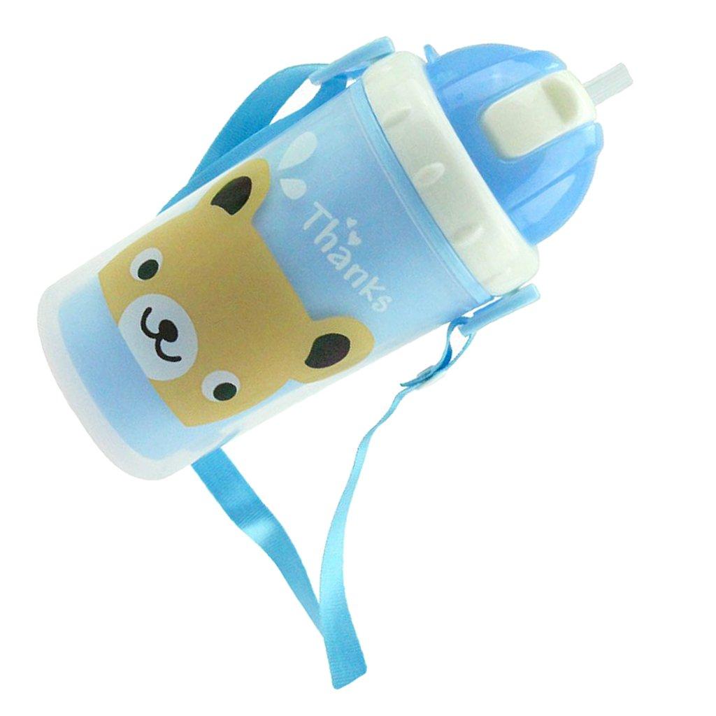 Bleu MagiDeal 300ml B/éb/é Bande Dessin/ée Bouteille Deau Paille Sippy Tasse Courroie Sans BPA