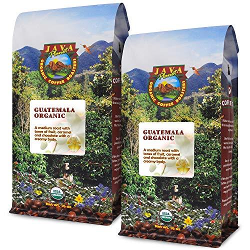 Java Planet – Guatemalan USDA Organic Coffee Beans, Medium Roast, Shade Grown, Bird Friendly, Rainforest Alliance, Arabica Gourmet Specialty Grade A – packaged in 2 1 LB bags