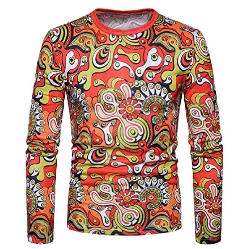 Cheap Coolred-Men Round Neck Casual Printed Long Sleeve China Style Top free shipping