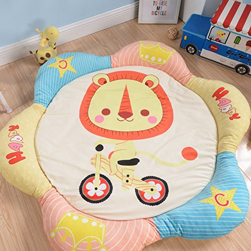 HugeHug Colorful Petal Sides Soft Fenced Kids Play Mat Floor Rugs for Bed and Game Rooms, Reading Nook, Video Games or Watching TV, Thick Non-Toxic Anti-slip Fluffy Round 60 inches for Girls Boy(lion)