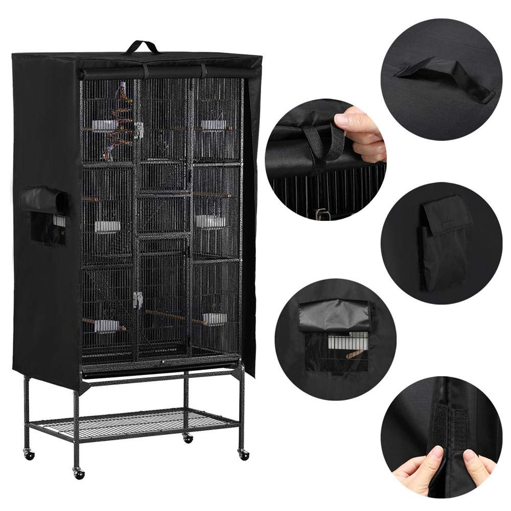Yaheetech Large Bird Cage Cover Universal Good Night Parrot Parakeet Cage Cover W/Mesh Window & Storage Pocket Lightweight & Washable 41.3in x 27.6in x 48in Black by Yaheetech