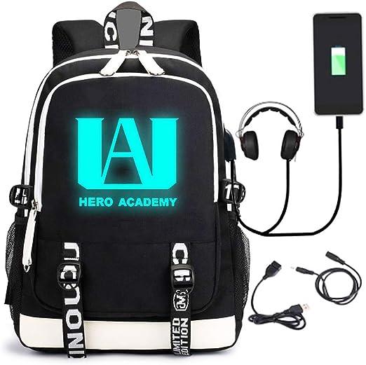 Roffatide Anime My Hero Academia Backpack Nylon Black Book Bag Printed School Bag Back Pack Daypack