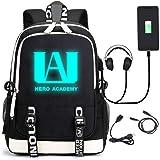 My Hero Luminous Backpack Academia Cosplay with USB Charging Port Bookbag Daypack