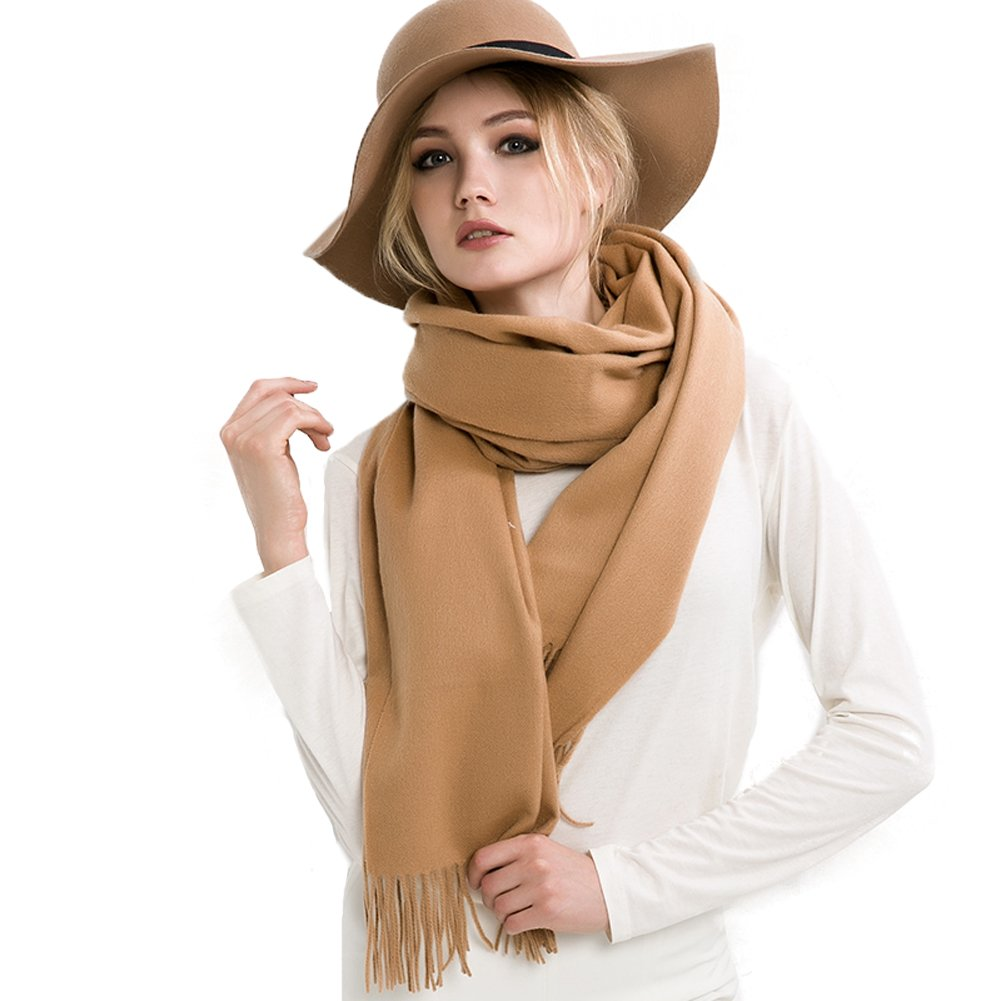 Brown Mingxin womens long length large pure color scarf cashmere shawl pashm tassels