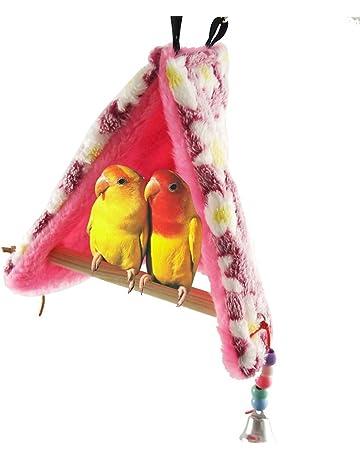 Nido de pájaro cálido para el invierno con perchas para loros,