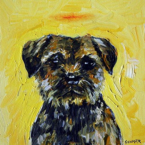 Border Terrier angel decor Dog art tile coaster gift
