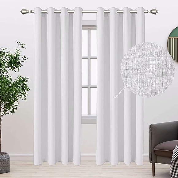 BONZER Linen Look Textured Curtains