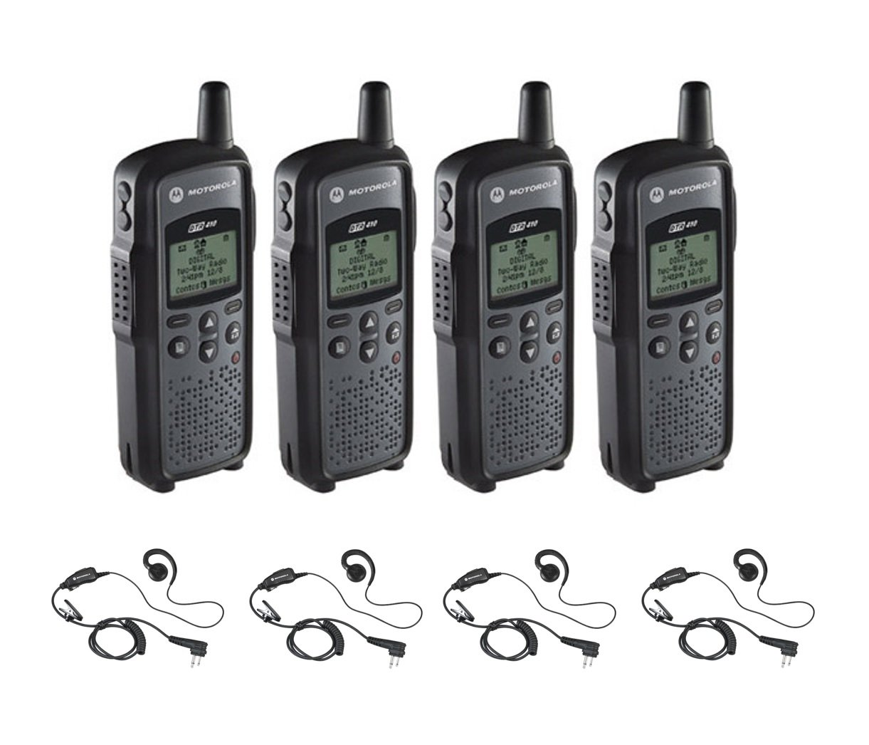 4 Pack of Motorola DTR410 Radios with 4 Push To Talk (PTT) earpieces.