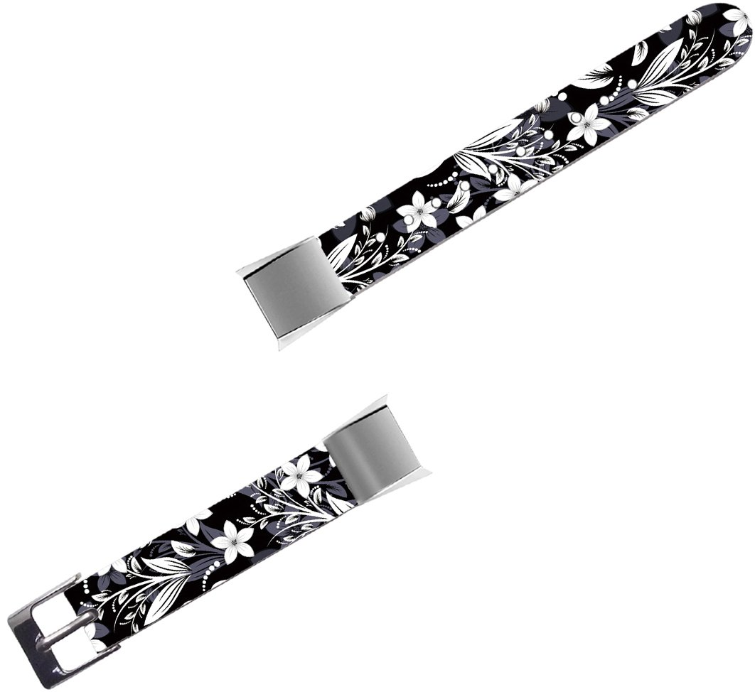 Band For Fitbit Alta HR - Leather Strap Replacement Compatible For Fitbit Alta / Alta HR Small & Large - Black Floral Flower Art Elegant Beautiful