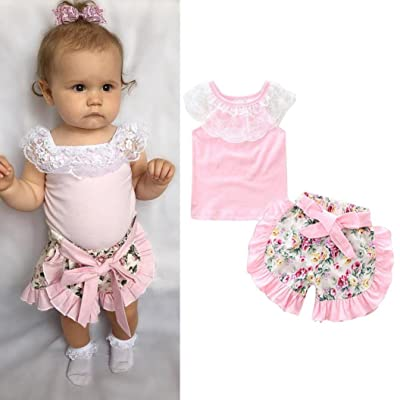 957c85509f0 2 PCS Set Toraway Infant Newborn Baby Girls Summer Lace T-shirt Short+  Floral