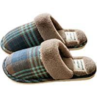 Solyinne Women's Fuzzy House Slippers Tartan Plaid Print Comfy Fuzzy Memory Foam Slip House Indoor or Outdoor Slippers