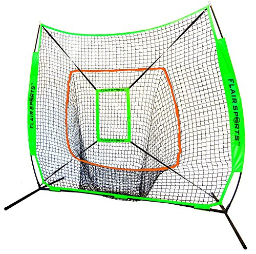 Flair Sports Baseball & Softball Net for Hitting & Pitching Heavy Duty 7x7 Pro Series | Indoor & Outdoor Training Net | Bow Frame + Bonus Strike Zone Included (Neon Green, Neon Orange) -