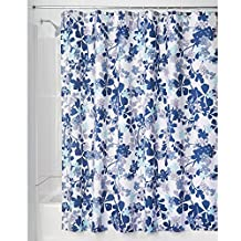 """InterDesign 63720 Fabric Shower Curtain with Window for Bathroom-72"""" x 72"""", White/Clear"""
