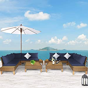 Tangkula 8 PCS Acacia Wood Patio Furniture Set, Outdoor Wicker Sectional Sofa Set w/Washable Cushions & Coffee Table, Functional Conversation Set Ideal for Backyard Garden Poolside Balcony