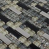 Black and Silver Metal Glass Tile Mosaic Kitchen Backsplash Bathroom Wall Mosaic Tile