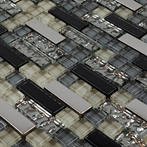Black And Silver Kitchen Accessories: Black And Silver Metal Glass Tile Mosaic Kitchen