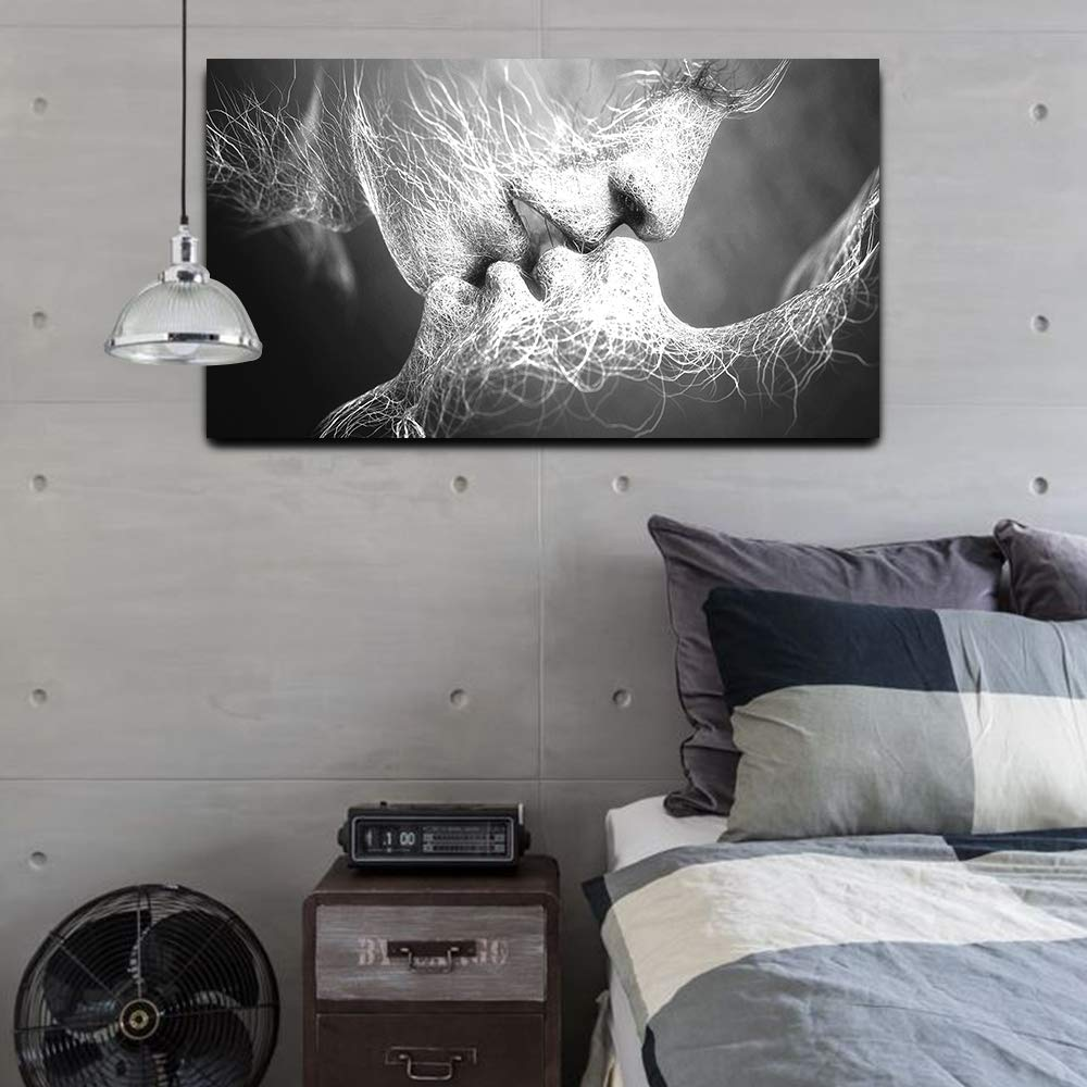 GOUPSKY Kiss Canvas Painting Black and White Picture Frames Romantic Kissing Couple Wall Art Decor Giclee Print Artwork 16X24 inch Stretched and Framed Ready to Hang by GOUPSKY (Image #3)