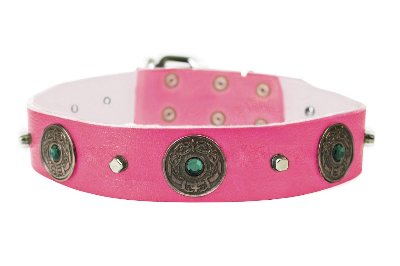 Dean and Tyler  DRAGON EYE  Dog Collar With Nickel Buckle Pink Size 71cm By 4cm Width. Fits neck size 26 Inches to 30 Inches.