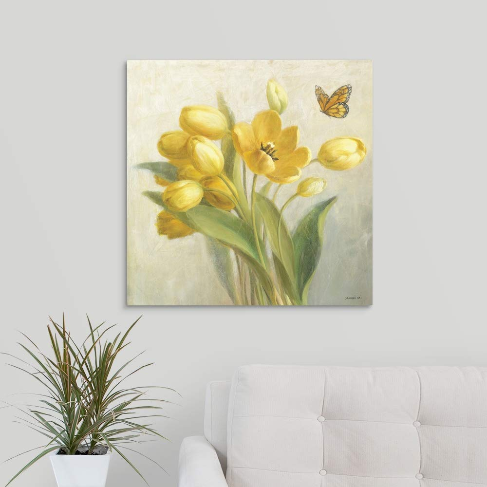 Yellow French Tulips Canvas Wall Art Print, 24 x24 x1.25