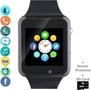 Smart Watch Phone Smartwatch with SIM Card Slot Camera Pedometer Text Call Notifications Compatible with Android Samsung LG Sony and iPhone (Partial Functions) for Men Women Teens