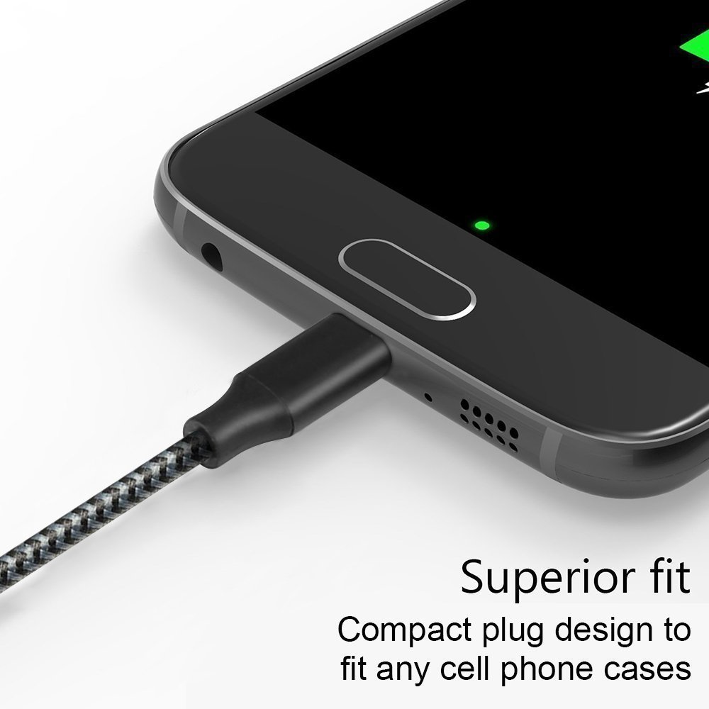 Micro USB Cable YouHo,4Pack 3FT 6FT 6FT 10FT Long Premium Nylon Braided Android Charger USB to Micro USB Charging Cable Samsung Charger Cord for Samsung Galaxy S7 Edge/S7/S6/S4/S3,Note 3/4/5 - Black by YouHo (Image #2)