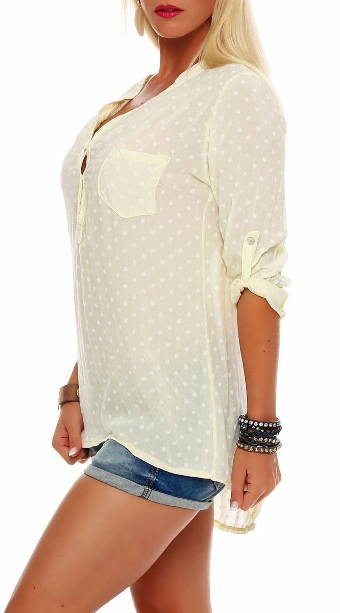 Malito dam blus med punkter | tunika med knähöga armar | blusskjorta också lång ärm bärbar | Elegant – tröja 3419 Ljusgul