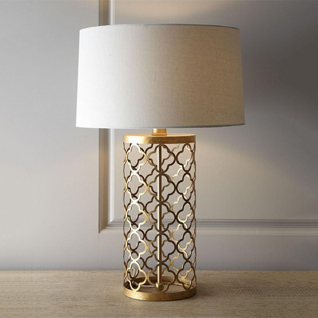 lampara mesa Lámpara de cabecera, rural de hierro hueco Lámpara de mesa de oro Salón Decoración Dormitorio Lámpara de mesa decorativa (Size : 50CM): Amazon.es: Hogar