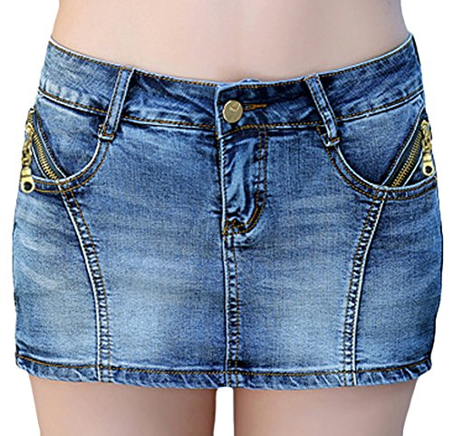 Youhan Women's Casual Slim Fitted Denim Skirt Short (Medium, E/Blue)