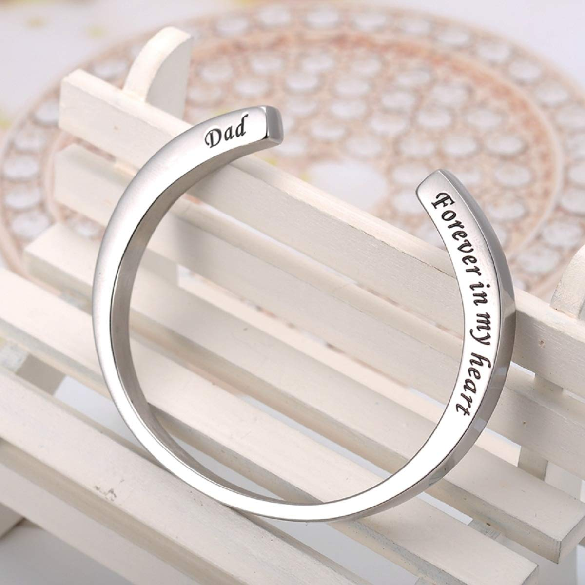 KY Engraved Memorial Urn Bracelet Stainless Steel Cremation Urn Bracelet Ashes Keepsake Jewelry