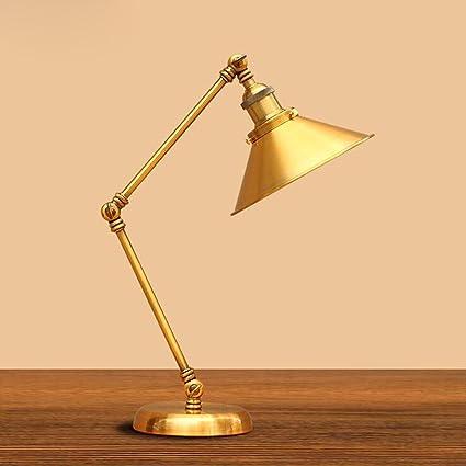 L @ YC Retro lámpara de mesa bronce creativo cama dormitorio ...