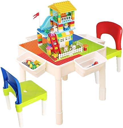 Mesa de Juego Mesas De Bloques De Construcción para Niños Mesa De Juegos Multifunción Juguetes Educativos Juguetes De Montaje Regalos para Niños (Color : Color-D, Size : 51 * 51 * 49cm): Amazon.es: Hogar