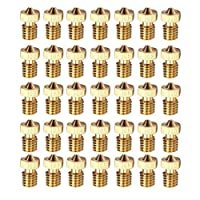 WINGONEER 35PCS M6 1.75mm 3D Printer 0.2mm 0.3mm 0.4mm 0.5mm 0.6mm 0.8mm 1.0mm Extruder Brass Nozzle Print Head for E3D Makerbot (5pcs/each size) by WINGONEER®