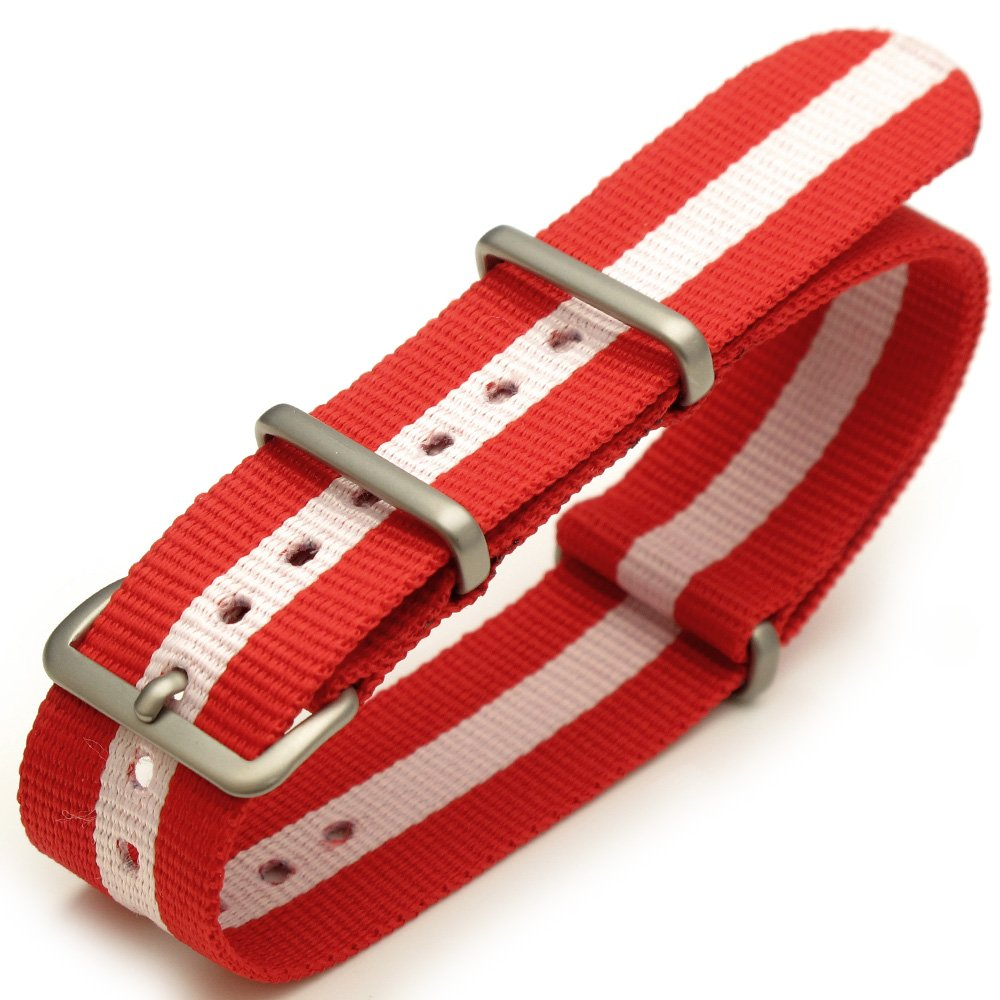 20mm G10 Nato James Bond Heavy Nylon Strap Brushed Buckle - J14 Red-Pink-Red