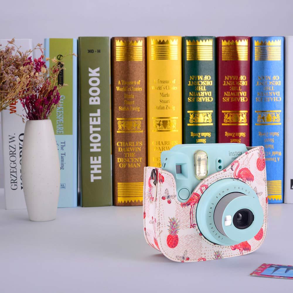 Famall Instax Mini 9 Funda para C/ámara Fujifilm Instax Mini 9 con Correa para el Hombro y Bolsillo Rosa