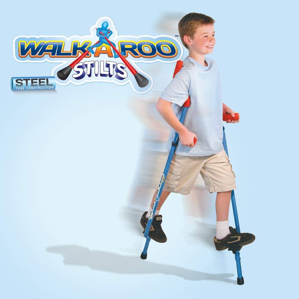 Original Walkaroo Steel Stilts by Air Kicks with Ergonomic Design for Easy Balance Walking, Assorted Colors (Blue or Red)