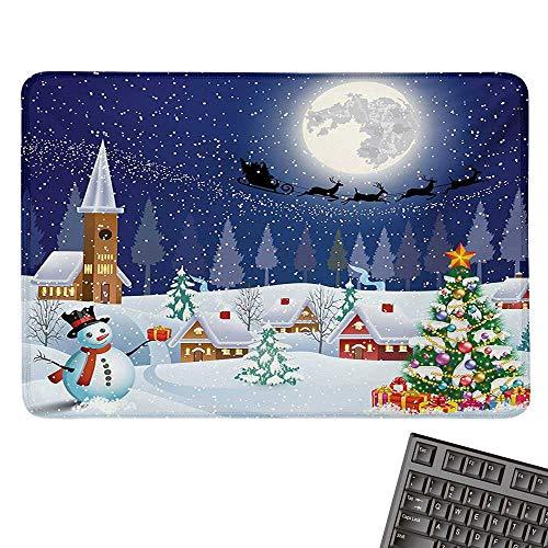 ChristmasE-Sports Gaming Mouse PadWinter Season Snowman Xmas Tree Santa Sleigh Moon Present Boxes Snow and StarsNonslip Rubber Base 15.7