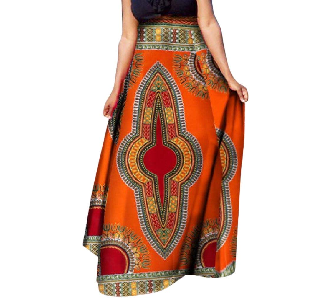 Womens African Print Big Pendulum Dashiki Half Classic Long Skirt 9 L