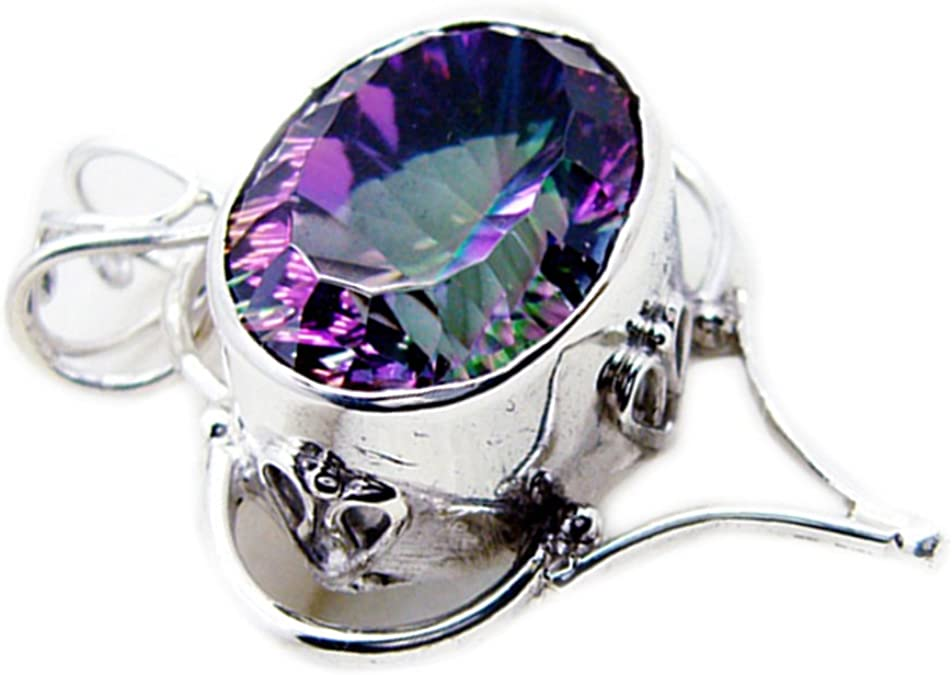 Gemsonclick Mystic Quartz Pendant For Women Girl Sterling Silver Charms Oval Shape Astrological Vintage
