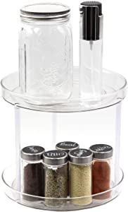 WAYDA 2-Tier Lazy Susan Turntable, 360 Degree Rotating Countertop Spice Rack Organizer Tray Food Storage Container for Cabinets, Pantry, Kitchen