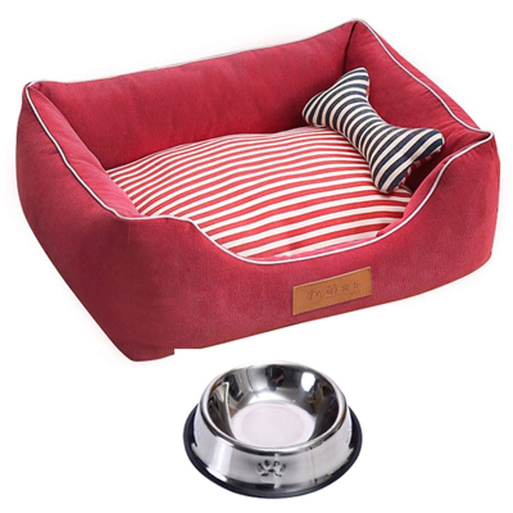 Red 96x75CMQYJpB Kennel  Small Medium Large Dog Pet Nest Removable Dog Bed  Four Seasons Universal MatDog bowl (color   Wine red, Size   L)