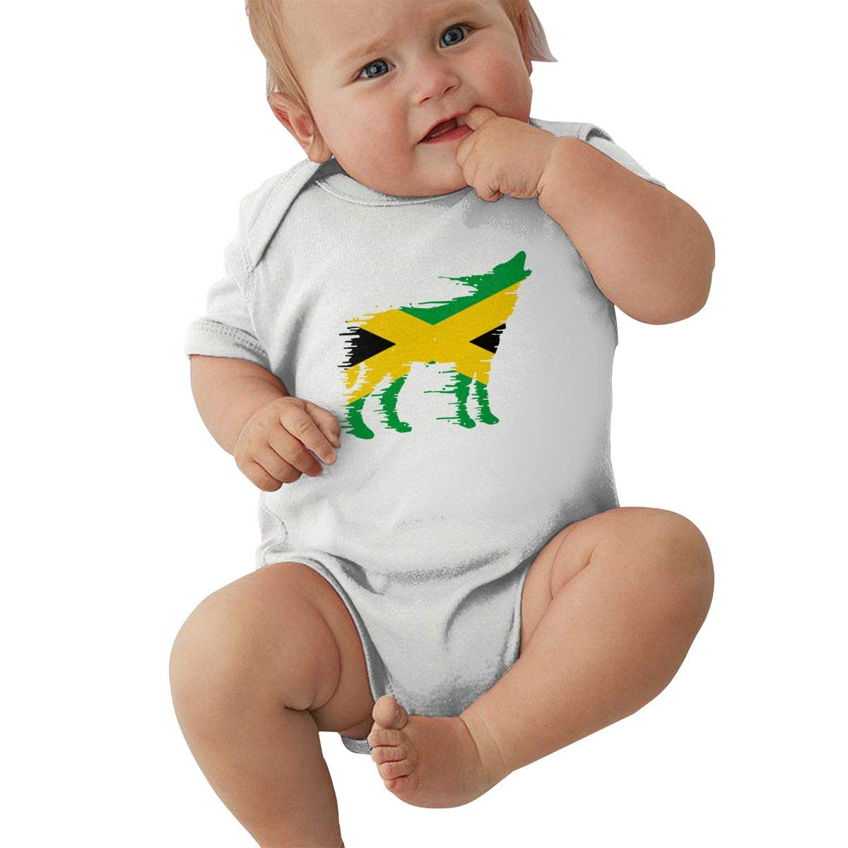 Newborn Baby Short Sleeve Jersey Bodysuit Jamaica Flag Wolf Toddler Jumpsuit