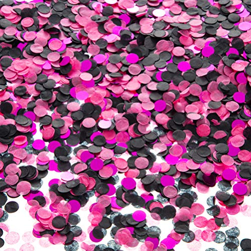 Tissue Paper Confetti Circle Dots for Table Wedding Birthday Party Decoration, 1cm in Diameter (rose pink,black,hot pink,60 grams)