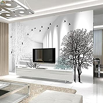 HUANGYAHUI Einfache Und Moderne Schwarze Und Weiße Non Woven  Wandverkleidung Tapete Im Wohnzimmer Tv