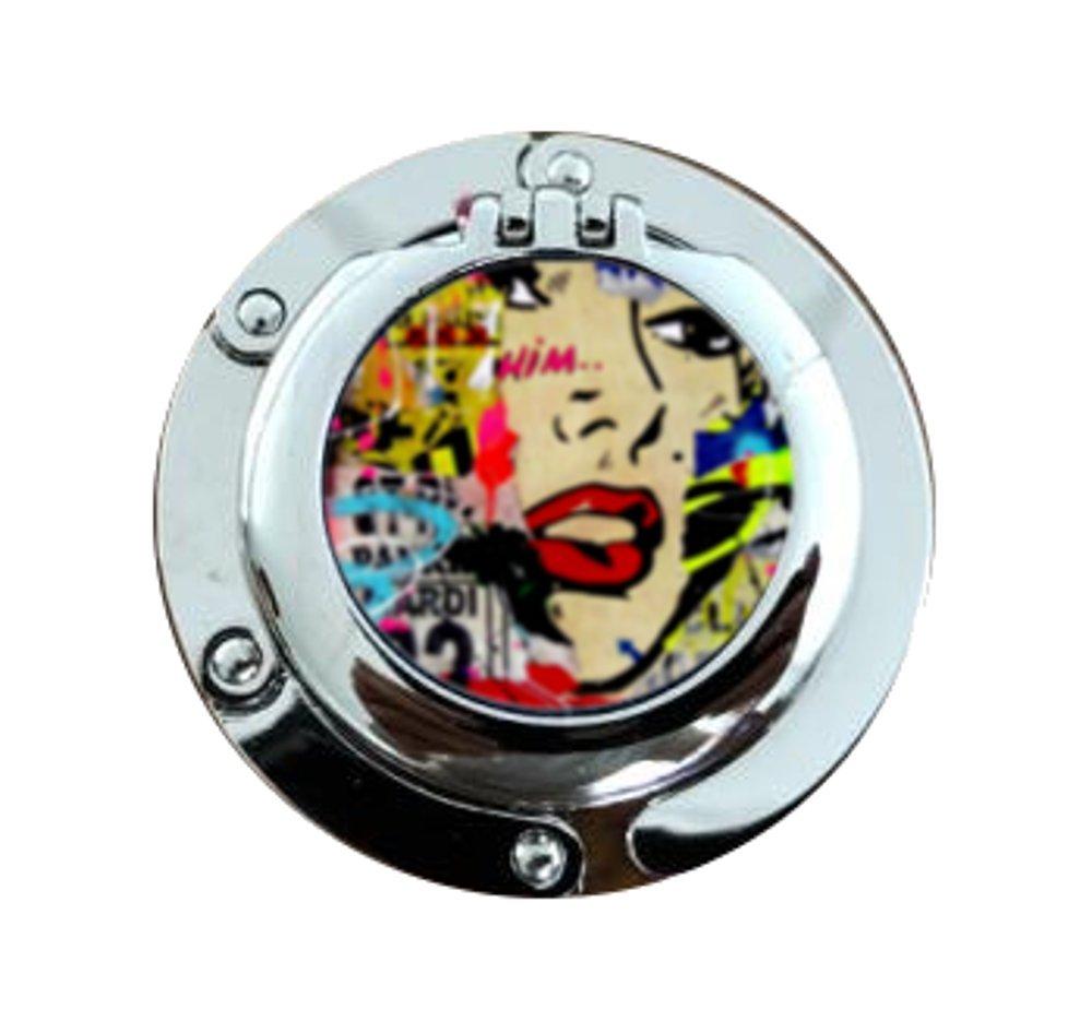 Accroche Sac - Porte Sac - Crochet Pour Sac A Main - Accroche Sac Pliable avec miroir - POP ART