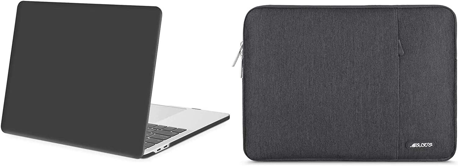 MOSISO Plastic Hard Shell Case & Vertical Sleeve Bag with Pocket Compatible with MacBook Pro 13 inch 2020 2019 2018 2017 2016 Release A2289 A2251 A2159 A1989 A1706 A1708, Space Gray