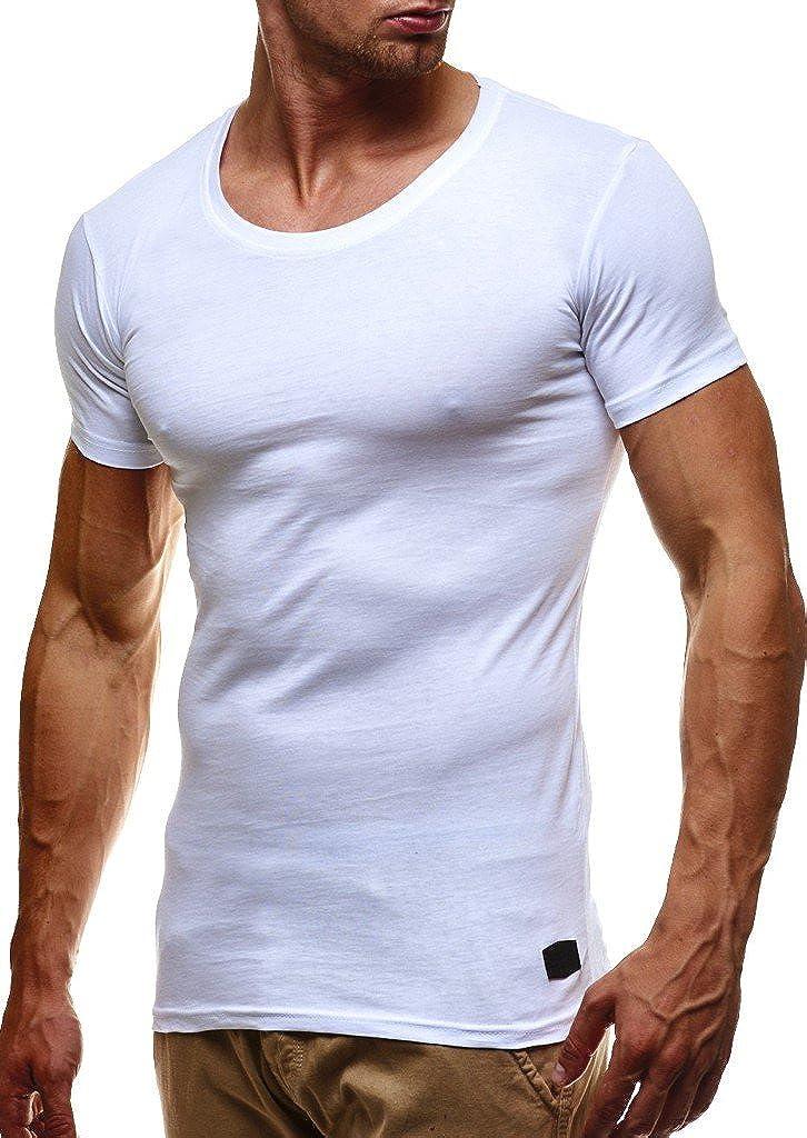 942196951f06d9 LEIF NELSON Herren T-Shirt Tiefer Rundhalsausschnitt
