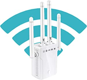 WiFi Extender - WiFi Repeater, WiFi Booster Covers Up to 2500 Sq.ft and 25 Devices, Up to 1200Mbps Dual Band WiFi Range Extender with Ethernet Port, Wireless Signal Booster for Home