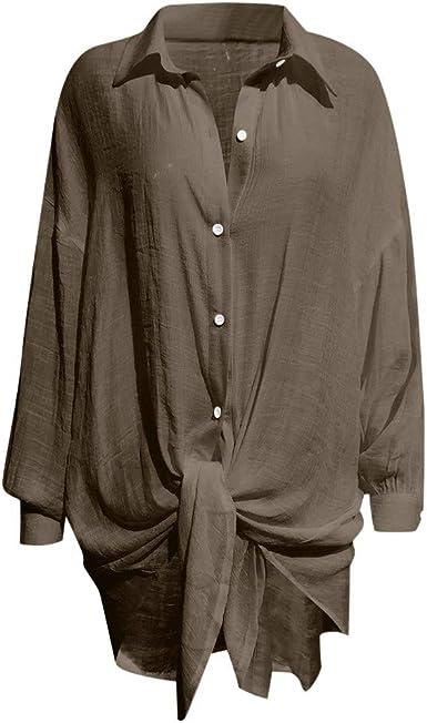 Camisetas Mujer Tallas Grandes Manga Larga Camisa Blanca Negra Camisas Y Blusas Para Mujer Verano Casual Loose Solido Manga Larga Cuello Anudado Nudo Boton Abajo Camisetas Tops Amazon Es Ropa Y Accesorios